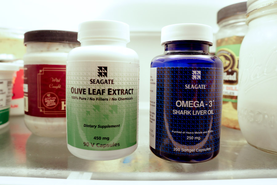 Seagate supplement bottles in the refrigerator