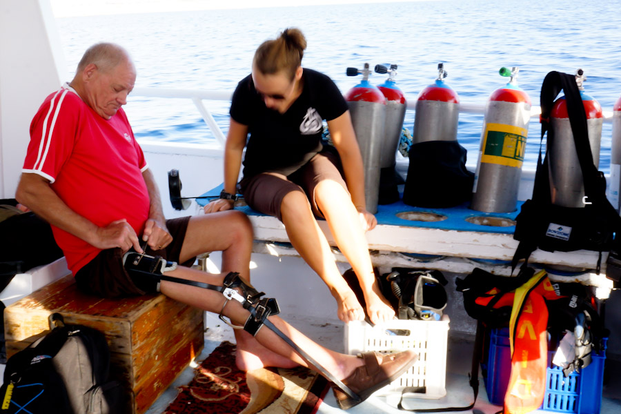 John preparing to dive off of Sharm El-Sheikh, Egypt