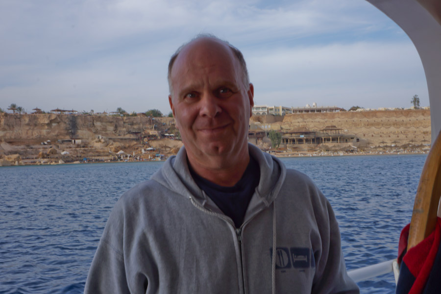Richard, the author aboard a dive boat in the Sinai