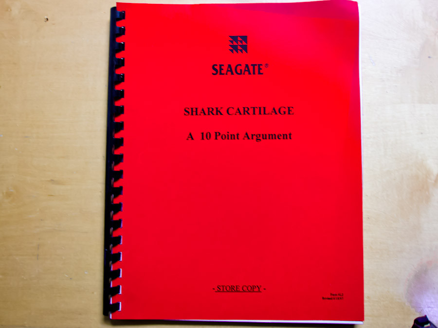 """The """"Red Book"""" on shark cartilage published by Seagate in 1996-7"""