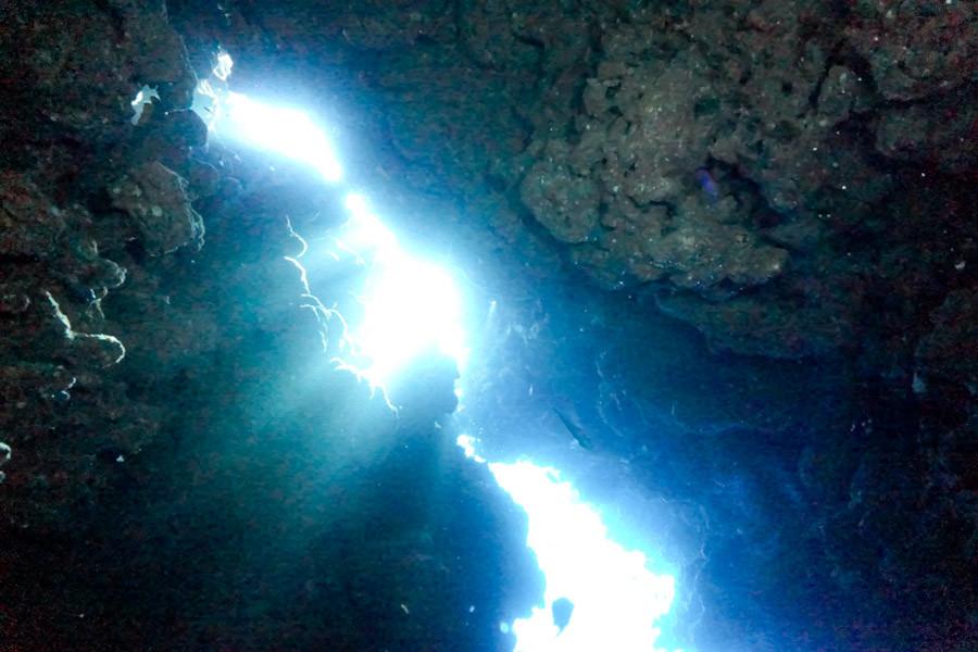 Sunlight entering top of cave - Sharm El Sheikh