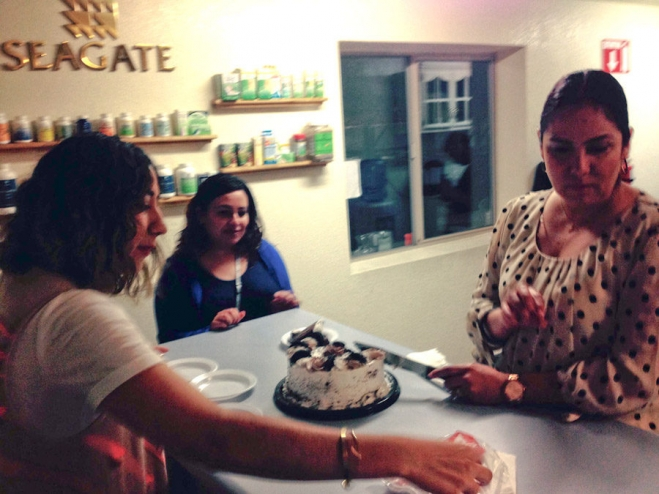 Ado (left), Sonya and Paty at Ensenada plant